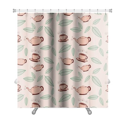Beta Cartoon Tea and Leafs Premium Shower Curtain