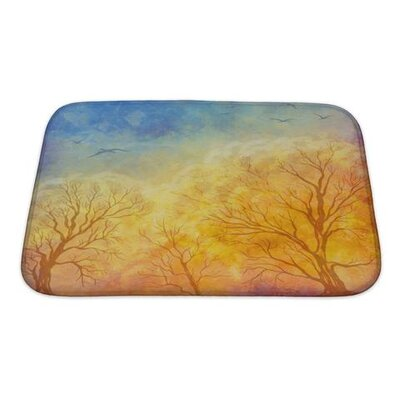 Art Primo Autumn Landscape with Trees, Dramatic Sky, Migratory Birds Premium Shower Curtain