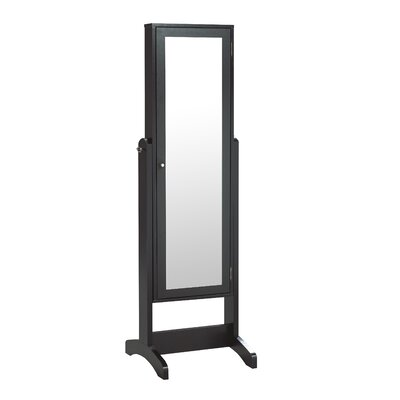 Teshawn Jewelry Armoire with Mirror Color: Black