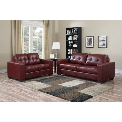 Henrike 2 Piece Living Room Set Upholstery: Burgundy
