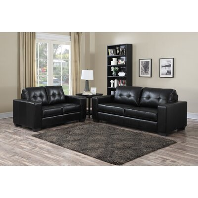 Henrike 2 Piece Living Room Set Upholstery: Black