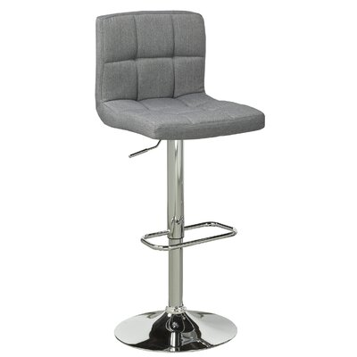 Elmira Adjustable Height Swivel Bar Stool Upholstery: Grey