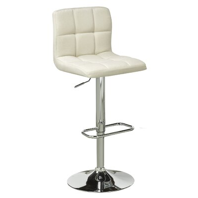Elmira Adjustable Height Swivel Bar Stool Upholstery: Beige