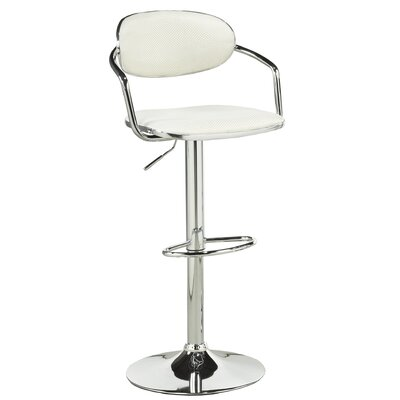 Soho Adjustable Height Swivel Bar Stool Upholstery: White