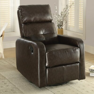 Candace and Basil Swivel Rocker Recliner Color: Espresso