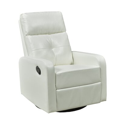 Candace and Basil Swivel Rocker Recliner Color: White