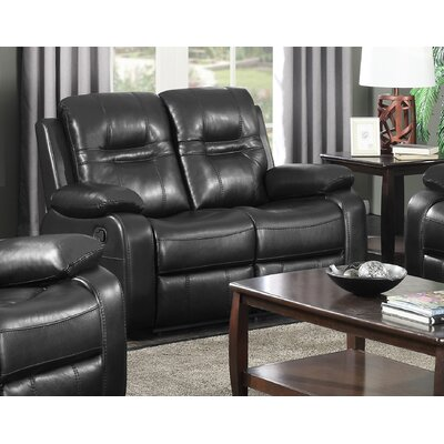Napolean Leather Reclining Loveseat Upholstery: Black