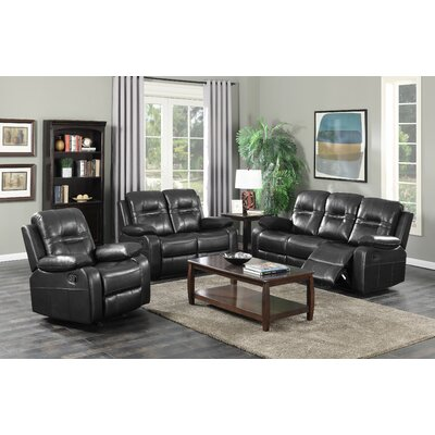 Napolean 3 Piece Reclining Living Room Set Upholstery Color: Black