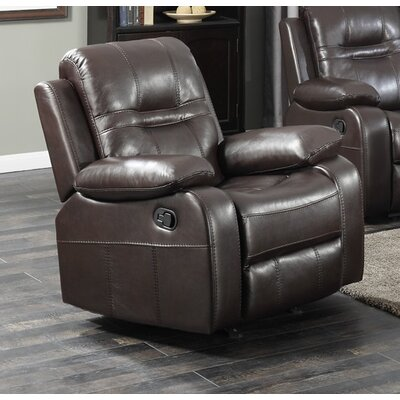 Napolean Manual Glider Recliner Upholstery Color: Brown