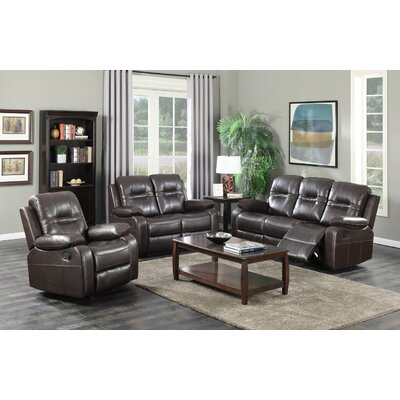 Napolean 3 Piece Living Room Set Upholstery Color: Brown