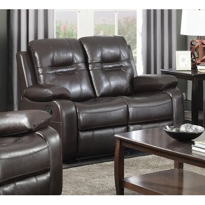 Napolean Leather Reclining Loveseat Upholstery: Brown