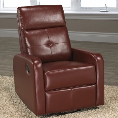 Candace and Basil Swivel Rocker Recliner Color: Red