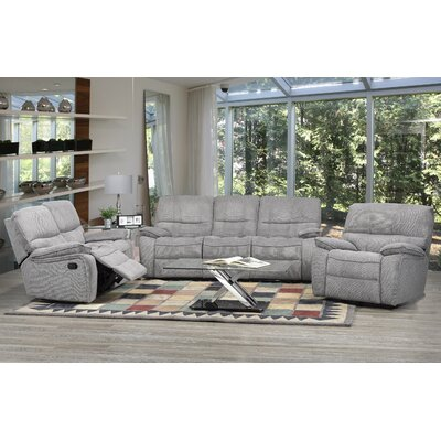 Edmonton 3 Piece Recliner Set Upholstery: Gray