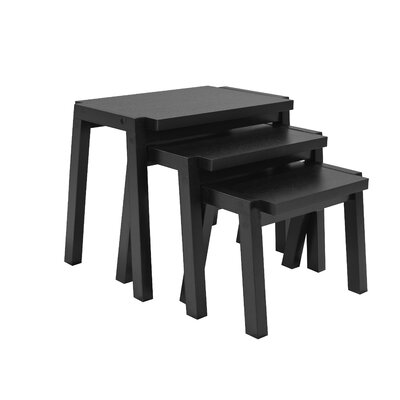 Erskine 3 Piece Nesting Tables Color: Black