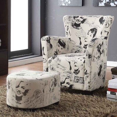 Brunwood Marilyn Monroe Print Club Chair with Ottoman