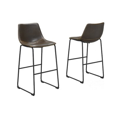 Nyron 29 Bar Stool Upholstery: Brown