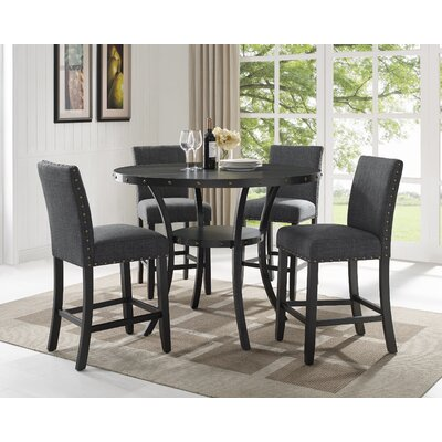 Charandeep 5 Piece Traditional Dining Set Chair Color: Gray