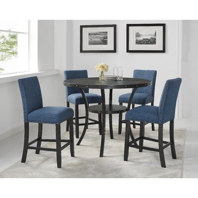 Charandeep 5 Piece Traditional Dining Set Chair Color: Blue