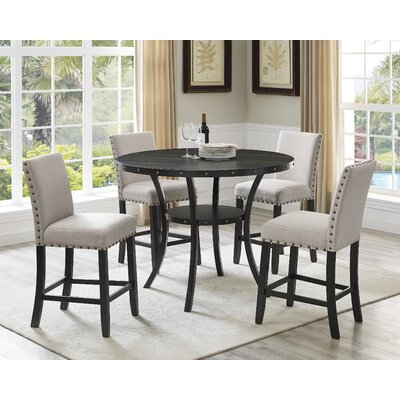 Charandeep 5 Piece Traditional Dining Set Chair Color: Beige