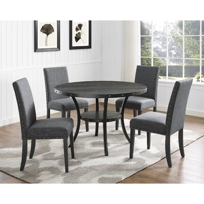 Charandeep 5 Piece Dining Set Chair Color: Gray