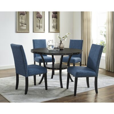 Charandeep 5 Piece Dining Set Chair Color: Blue