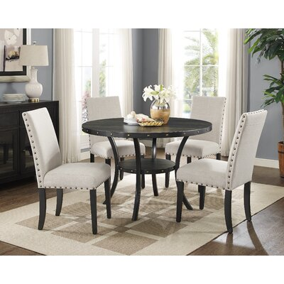 Charandeep 5 Piece Dining Set Chair Color: Beige