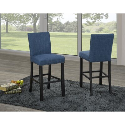 Charandeep 24 Bar Stool Upholstery Color: Blue