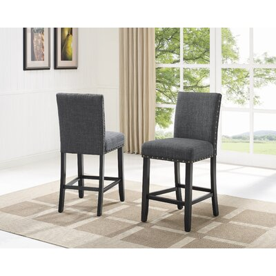 Charandeep 24 Bar Stool Upholstery Color: Gray