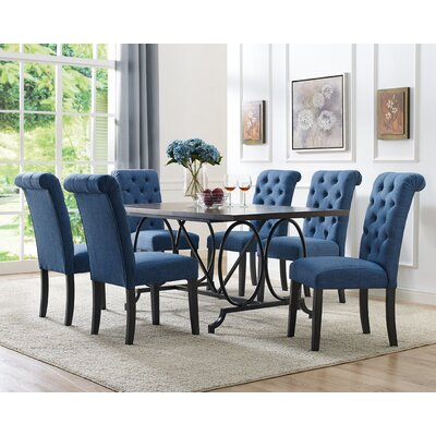 Niall 7 Piece Dining Set Chair Color: Blue