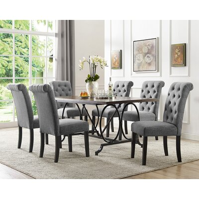 Niall 7 Piece Dining Set Chair Color: Gray