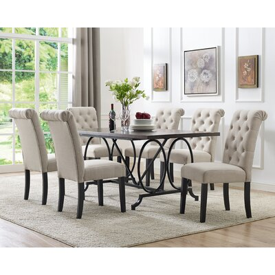 Niall 7 Piece Dining Set Chair Color: Beige