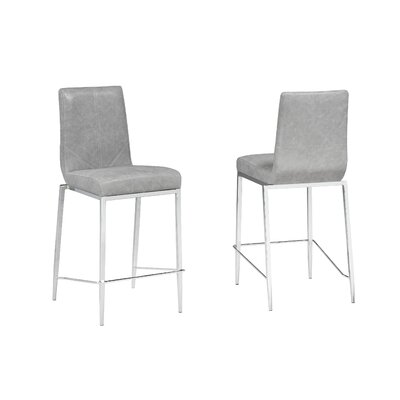 Mcbee 26 Bar Stool Upholstery Color: Gray