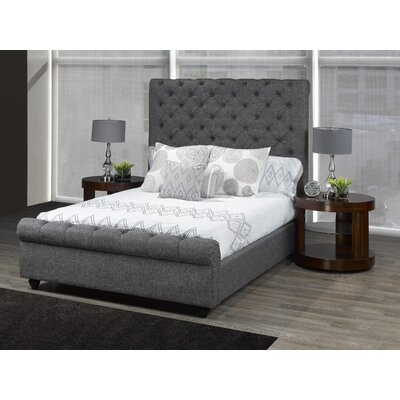 Allistair Upholstered Panel Bed Color: Gray, Size: King
