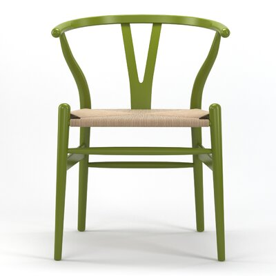 Timber Solid Wood Dining Chair Finish: Green