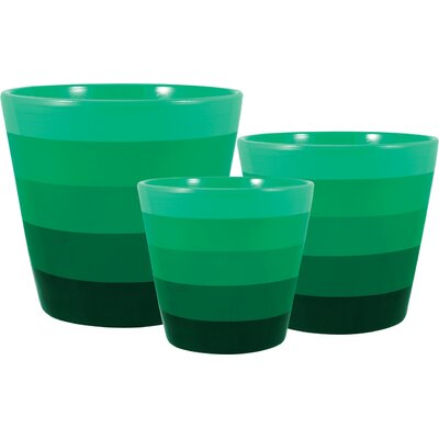 Rusnak 3-Pieces Pot Planter Set Color: Green