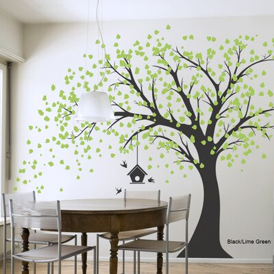 Wallums Wall Decor Large Windy Tree with Birdhouse Wall Decal - Size: 96