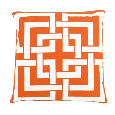 Greek Key 100% Cotton Pillow Cover Color: Orange