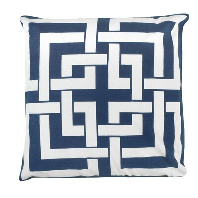 Greek Key 100% Cotton Pillow Cover Color: Navy