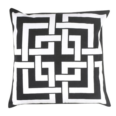 Greek Key 100% Cotton Pillow Cover Color: Black