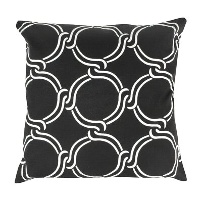 Circle Print 100% Cotton Pillow Cover Color: Black
