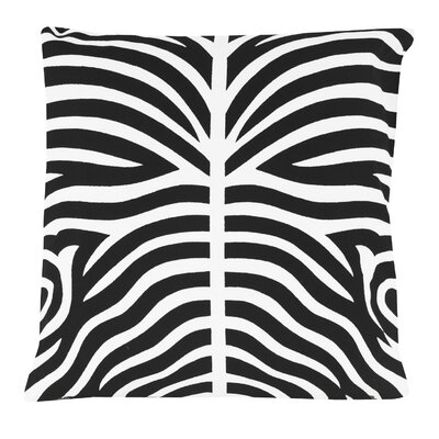 Zebra 100% Cotton Pillow Cover Color: Black