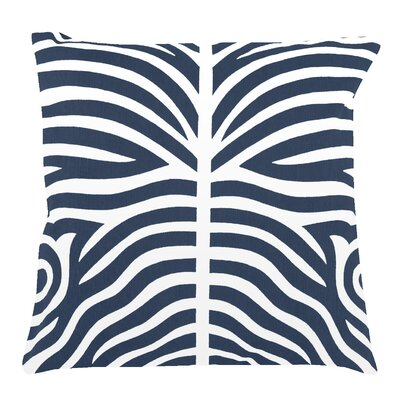 Zebra 100% Cotton Pillow Cover Color: Navy