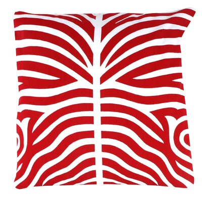 Zebra 100% Cotton Pillow Cover Color: Red