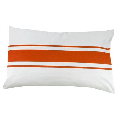 Stripe 100% Cotton Pillow Cover Color: Orange
