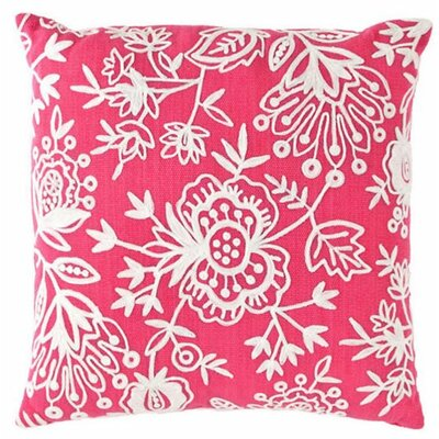 Flora Crewel Indoor/Outdoor Throw Pillow Color: Fuchsia