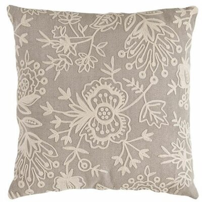 Flora Crewel Indoor/Outdoor Throw Pillow Color: Platinum