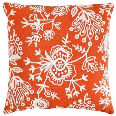 Flora Crewel Indoor/Outdoor Throw Pillow Color: Tangerine