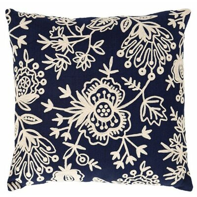 Flora Crewel Outdoor Throw Pillow Color: Navy