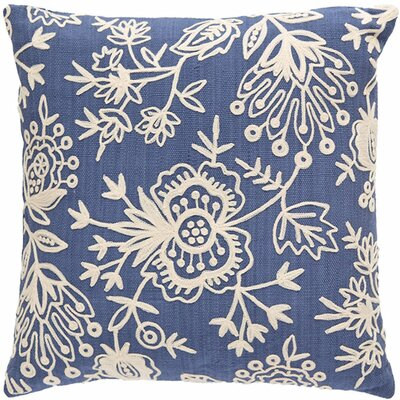 Flora Crewel Indoor/Outdoor Throw Pillow Color: Denim