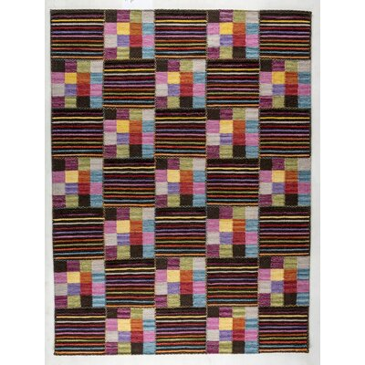 Khema 4 Hand-Woven Purple/Brown/Green Area Rug Rug Size: 56 x 710